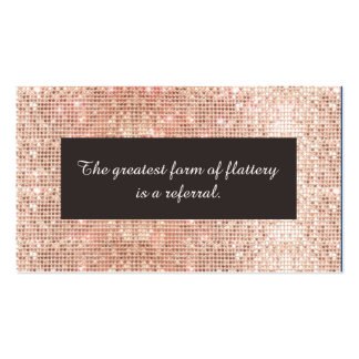 Faux Rose Gold Sequins Cosmetology Referral Card Pack Of Standard Business Cards