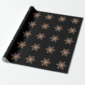 Faux Rose Gold Snowflake on Black | Glam Christmas