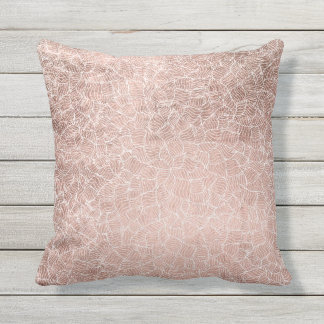 Faux rose gold stripes geometric abstract pattern outdoor cushion