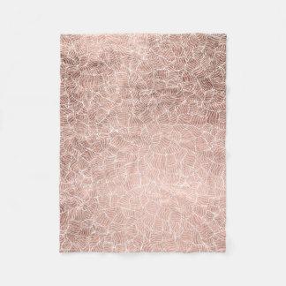 Faux rose gold stripes geometric handdrawn pattern fleece blanket