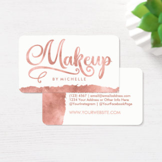 Faux Rose Gold Swash MAKEUP Artist Business Cards