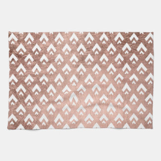 Faux rose gold triangles scallop geometric pattern tea towel