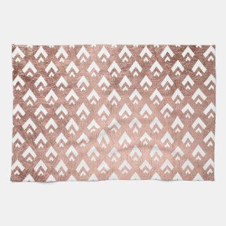 Faux rose gold triangles scallop geometric pattern tea towel