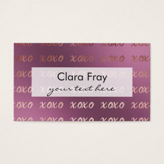 faux rose gold typography hugs and kisses xoxo business card
