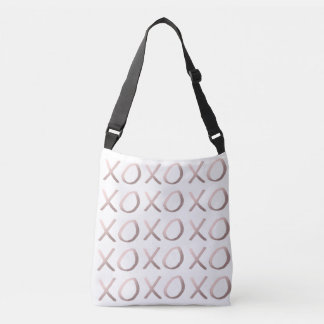 faux rose gold typography hugs and kisses xoxo crossbody bag