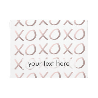 faux rose gold typography hugs and kisses xoxo doormat