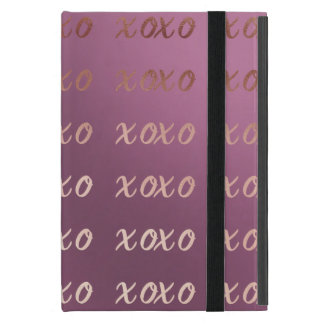 faux rose gold typography hugs and kisses xoxo iPad mini case