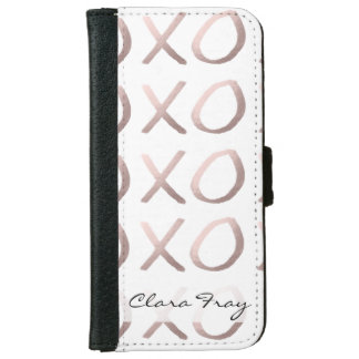 faux rose gold typography hugs and kisses xoxo iPhone 6 wallet case