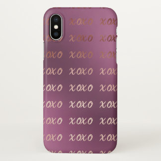 faux rose gold typography hugs and kisses xoxo iPhone x case