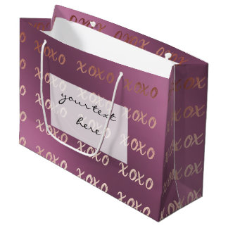faux rose gold typography hugs and kisses xoxo large gift bag
