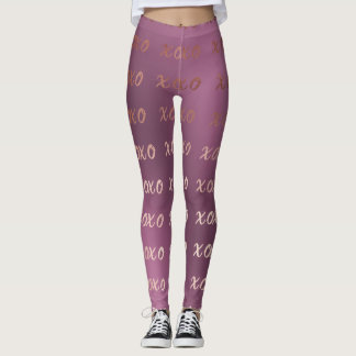 faux rose gold typography hugs and kisses xoxo leggings