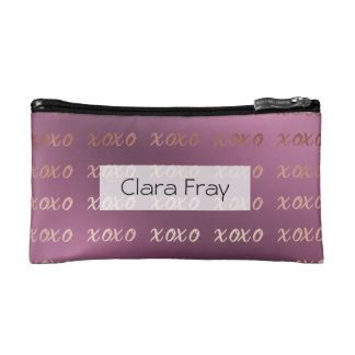faux rose gold typography hugs and kisses xoxo makeup bag