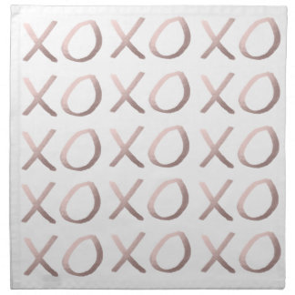 faux rose gold typography hugs and kisses xoxo napkin