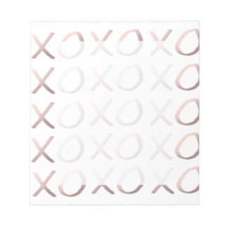 faux rose gold typography hugs and kisses xoxo notepad
