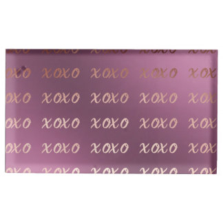 faux rose gold typography hugs and kisses xoxo table card holder