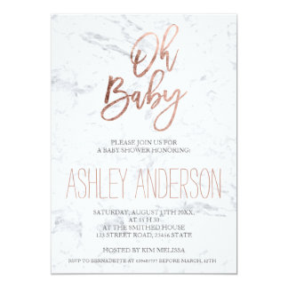 Faux rose gold typography marble chic Baby shower 13 Cm X 18 Cm Invitation Card