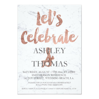 Faux rose gold typography marble let's celebrate card