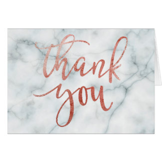 faux rose gold typography thank you on marble card