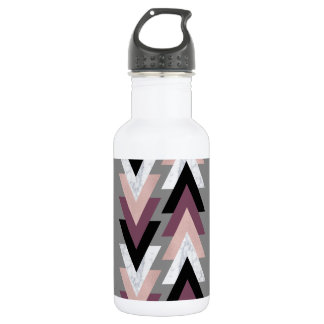 faux rose gold white marble purple black geometric 532 ml water bottle
