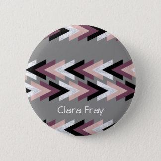 faux rose gold white marble purple black geometric 6 cm round badge