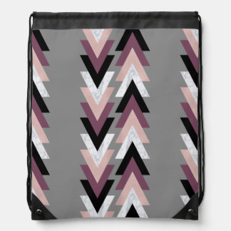 faux rose gold white marble purple black geometric drawstring bag