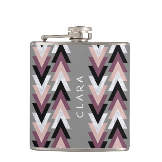 faux rose gold white marble purple black geometric hip flask