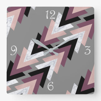 faux rose gold white marble purple black geometric square wall clock