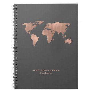 Faux Rose Gold World Map on Smoky Gray Notebook