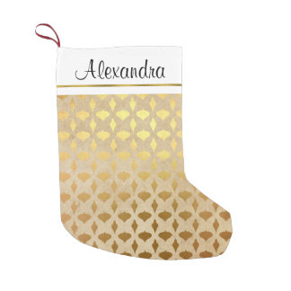 Faux Rustic Gold Foil Christmas Ornaments Monogram Small Christmas Stocking