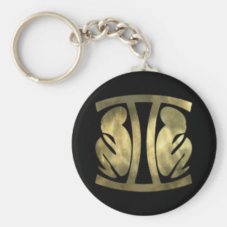 Faux Rustic Gold Gemini Twins Basic Round Button Key Ring