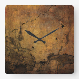 Faux Rusty Cracked Metal Square Wall Clock