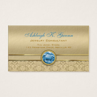 Faux Sapphire Blue Gemstone Metallic Gold Damask Business Card
