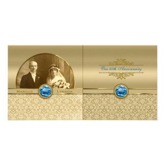 Faux Sapphire Blue Gemstone Metallic Gold Damask Custom Photo Card