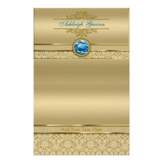 Faux Sapphire Blue Gemstone Metallic Gold Damask Stationery