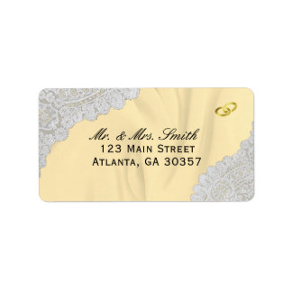 Faux Satin And Lace Golden Wedding Address Label