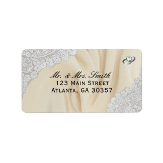 Faux Satin And Lace Wedding Address Label