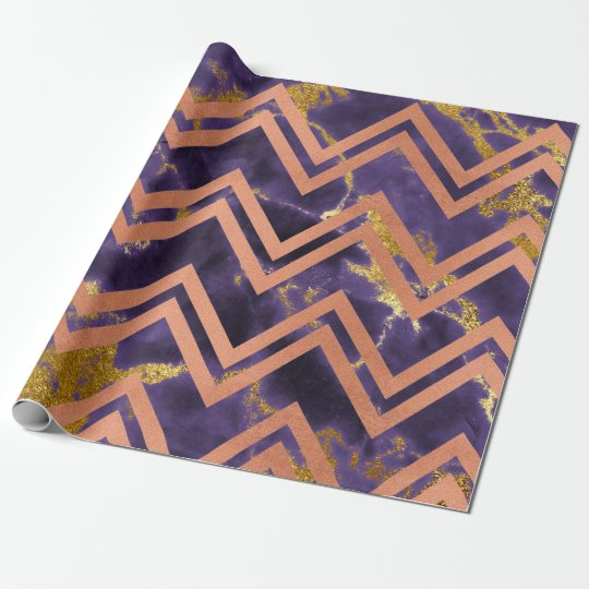 Faux Sepia Gold Marble Zig Zag Chevron Purple Plum Wrapping Paper