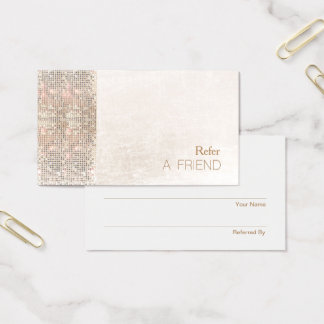 FAUX Sequin Brushed White Marble Salon Referral Business Card