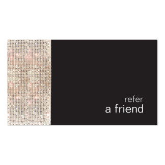 FAUX Sequins Beauty Salon Refer A Friend Black Double-Sided Standard Business Cards (Pack Of 100)