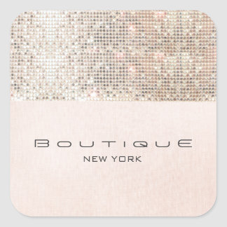 FAUX Sequins Pink Linen Look Fun and Girly Square Sticker