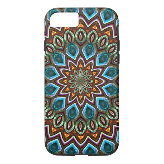 Faux Shiny Orange Teal Turquoise Mandala Pattern iPhone 8/7 Case