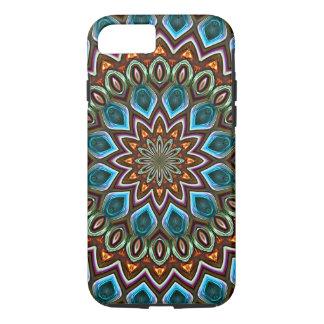 Faux Shiny Orange Teal Turquoise Mandala Pattern iPhone 8/7 Case