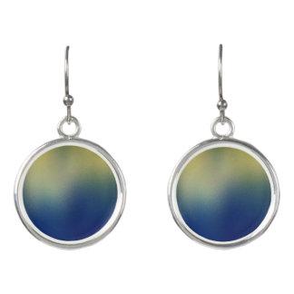 Faux Silk Effect Design-Blue Yellow Earrings