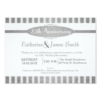 Faux Silver 25th Wedding Anniversary Invitation