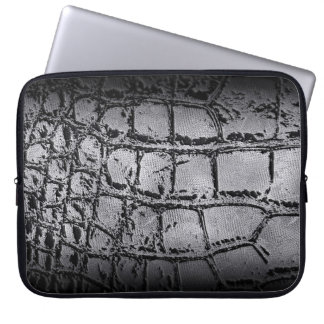 Faux silver and black Crocodile /Snake Skin Laptop Sleeve