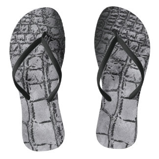 Faux silver and black Crocodile /Snake Skin Thongs