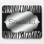 Faux Silver and Black Zebra Personalised Mousemat