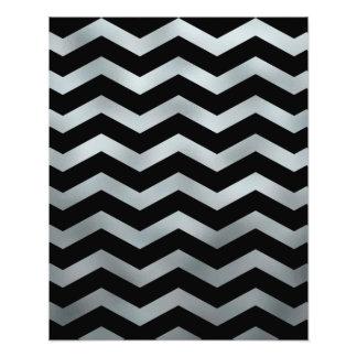 Faux Silver Black Foil Chevron Zig Zag Texture Photo Print
