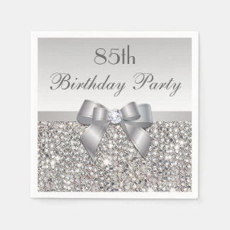 Faux Silver Bow Sequins Diamond Any Age Birthday Disposable Serviette