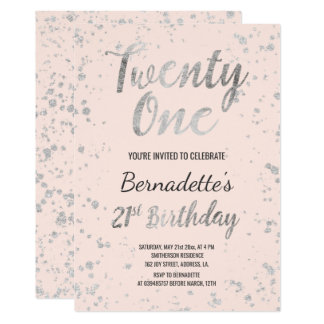 Faux silver confetti splatters pink 21st Birthday Card